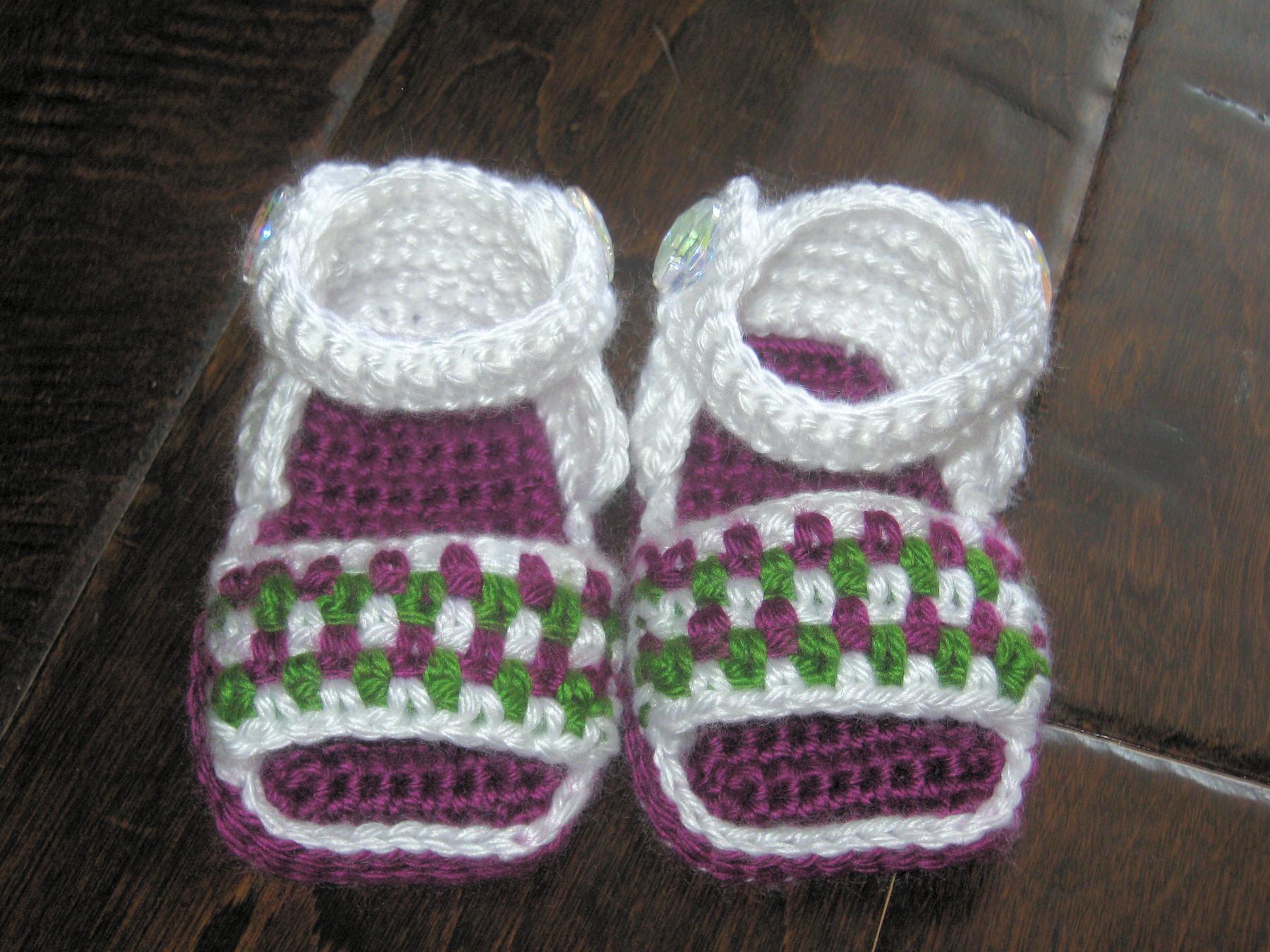 d3d54b39b0492 Crochet Baby Sandals Booties Shoes Newborn To 6 Months